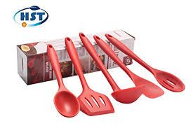 Red Kitchen Utensil Set - new red set of 5 5 piece premium hygienic cooking solid silicone