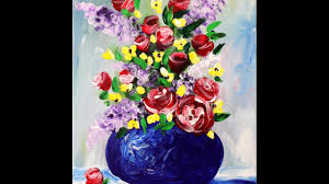 Acrylic Flower Vases Spring Flowers In A Vase Step By Step Acrylic Painting On Canvas