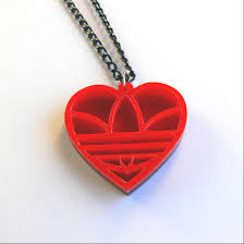 long red heart necklace images Heart shaped adidas necklace laser cut from red acrylic jpg