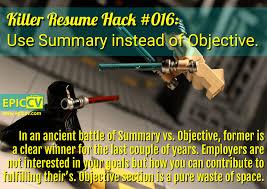 resume summary vs objective killer resume hacks