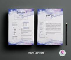 Resume Background Image Creative Cv Template Cover Letter Template Watercolor