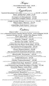 Address On Resume Dinner Menu The Caterbury Brook Inn