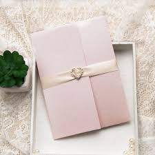 affordable pocket wedding invitations inexpensive pink flower heart rhinestone pocket wedding