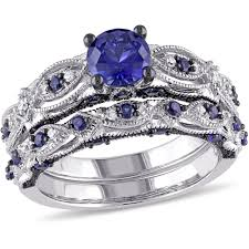 sapphire wedding rings images Tangelo 2 carat t g w created blue sapphire and 1 10 carat t w jpeg