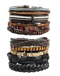 beaded leather cuff bracelet images Revolia 10 15pcs mens womens leather bracelets wooden jpg