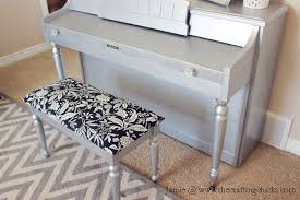 Piano Bench Cushion Pattern Silver Painted Piano The Crafting