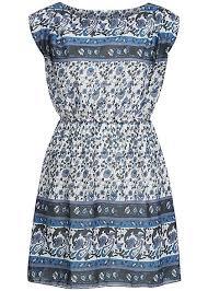 Blau Schwarz Muster Madonna Mini Kleid Momoka 74 1580 Blumen Muster Gummizug Ink