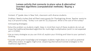 thanksgiving dinner problem effective practices and shifts in teaching and learning