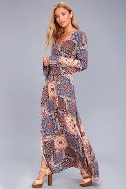 sleeve maxi dress boho maxi dress print sleeve dress belted dress
