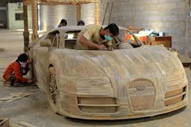 bugatti veyron 1 1 scale model created out of wood pictures
