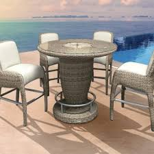 Bliss Patio Furniture Luxor Bliss Round Bar Table Set Outdoor High Bar Table Set