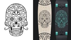 sugar skull design from sketch to vector