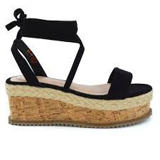 womens lace up wedge heel sandal espadrilles ladies gladiator