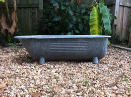 German Home Decor Antique Victorian Galvanized Steel Baby Bathtub Footed German Home