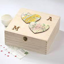 wedding keepsake box two personalised map hearts wedding keepsake box by bombus