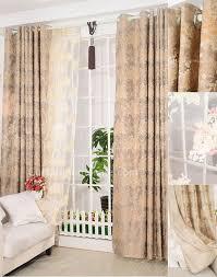 Short Length Blackout Curtains Floral Brown Polyester Blackout Short Length Curtains