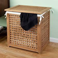 teak laundry hamper with lid bathroom