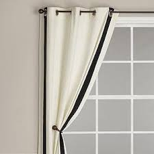White Curtains With Blue Trim Ribbon Trim Panel With Grommet Top Ivory With Black Trim