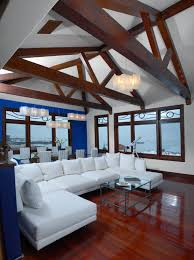 Living Room Ceiling Beams Living Room Arch Ceiling Design Brown Wooden Floor Rustic