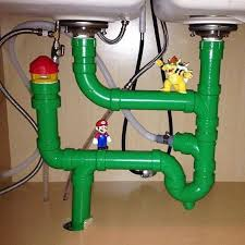 Plumbing Meme - handy gamer installs super mario bros themed plumbing under