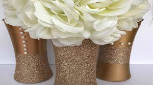 Gold Centerpiece Vases Diy Gold Centerpieces Upcycle Wedding Holiday Youtube