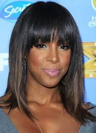 haircut for wispy hair kelly rowland hairstyles ombre medium haircut with wispy bangs