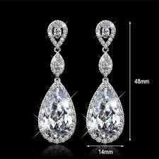 silver diamond earrings classic drop earring women cubic zirconia diamond earrings fashion