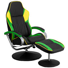 buy racing style black green and yellow vinyl recliner and
