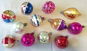 poland dozen blown glass indent ornaments in original