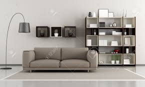 contemporary livingroom sofa and bookcase rendering stock photo