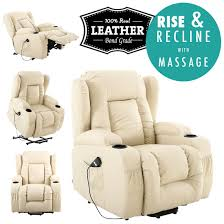 Leather Armchair Ebay Caesar Cream Electric Rise Recliner Winged Leather Armchair