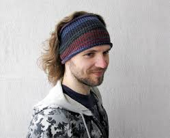 hair bands for men knitted mens headband guys knit hair wrap blue burgundy grey