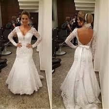 brautkleider gã nstig kaufen weiß brautkleider lang ärmel spitze meerjungfrau v ausschnitt