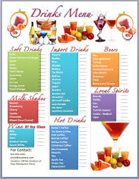 drink menu template free drinks bar menu template microsoft word templates
