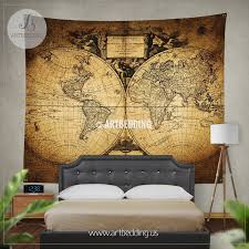 Ancient world map wall tapestry vintage world map wall hanging