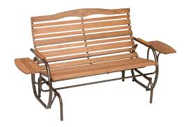 furniture wooden porch glider with arm tray for outdoor seating