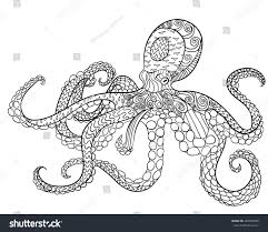 octopus high details antistress coloring stock vector