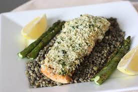 panko crusted salmon with french lentils