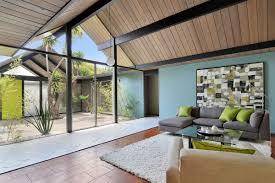 eichler style home cut through house showing clerestory windows around covered atrium