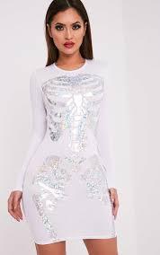Skeleton Dress Holographic Skeleton Print White Bodycon Dress Dresses