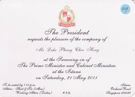 Invitation Card Of Opening Ceremony Lukeyishandsome Dot Com Singapore Cabinet Swearing In Ceremony