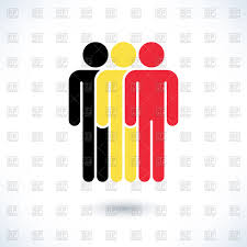 Belgian Flag Pictogram Of Three Men In Colours Of Belgium Flag Royalty Free