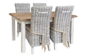 collection in indoor white wicker furniture and dining room