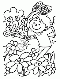 nice spring day coloring page for kids seasons coloring pages