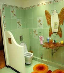 bathroom kids bathroom designs with bright green tiles with kids bathroom designs with bright green tiles with butterfly motif and mirror also sink decorating with butterfly ornament