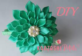 ribbon flowers diy kanzashi dahlia flower headband ribbon flowers
