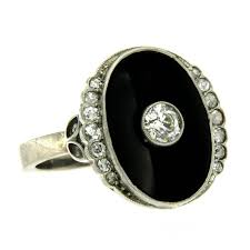onyx engagement rings deco onyx diamond gold ring at 1stdibs