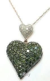 green heart pendant necklace images Carat white green diamond 14 k rose gold heart pendant 18 necklace jpg