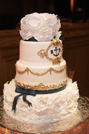 wedding cake navy blue and gold royal blue and gold wedding cake