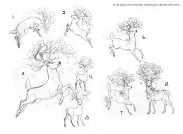 jumping deer tattoo drawing real photo pictures images and